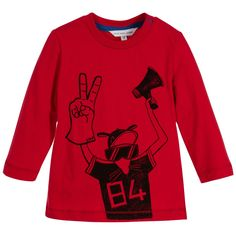 Little Marc Jacobs Baby Boys Red Cotton Top at Childrensalon.com