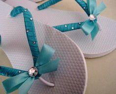 So Sweet Bride Brooke Bow Center with Staggered Crystal Embellished Wedding Flip Flops