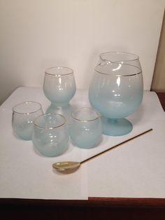 vintage retro mid century BLENDO blue glass pitcher martini cocktail juice set