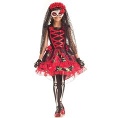 Spanish black and red Dia de Muertos dress for little girls - #dayofthedeadcostumes - Fancy Costume Madness