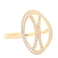 Diamond Open Arc Flow Ring