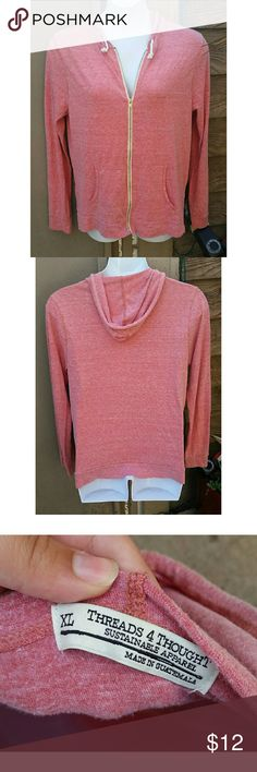 Threads 4 Thought Anthropologie Pink Zip Jacket XL Super cute Threads 4 Thought salmon colored zip up hoodie jacket sold at Anthropologie! Excellent condition, size XL Threads 4 Thought Jackets & Coats