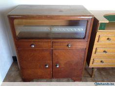 Vintage Retro houten kast met glazen schuifdeur - 2 lades