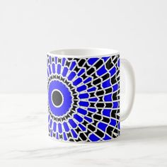 Prism Mandala ( Blue ) Coffee Mug - home gifts ideas decor special unique custom individual customized individualized