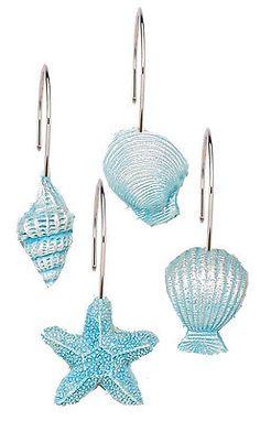 Blue Sea Shells U0026 Starfish Resin Shower Curtain Hooks Set Oceanside Beach  Theme