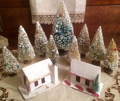 9 Vintage Christmas Decorated Bottle-Brush Trees, 2 Houses for Putz or Trainyard