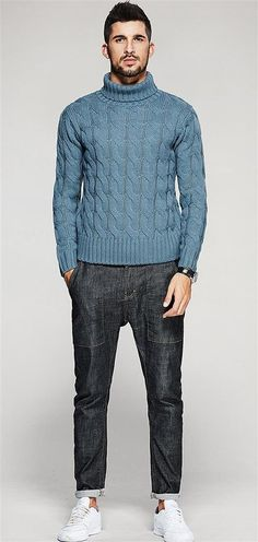 Fulok Mens Cable Knit Slim Turtle Neck Warm Winter Pullover Sweater Navy Blue L