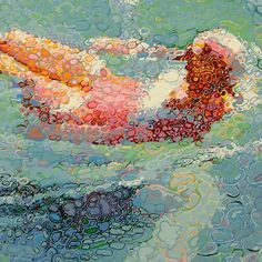 Bathing Woman by Matthew Davis, 2004, oil based gloss painted layered on board.