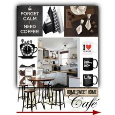 Kitchen Cafe by fortyandlovingit on Polyvore featuring polyvore, interior, interiors, interior design, home, home decor, interior decorating, Hokku Designs, Pottery Barn and FREDS at Barneys New York