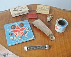 Collection Of Curios, Advertisement Items, Vintage Advertising Shoe Horn, Johnson And Johnson, Vintage Tools, Ginger Ale, Vintage Advertisements, Adhesive, Advertising, Collection