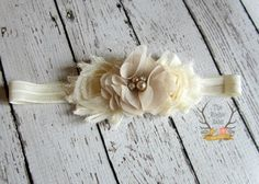 Ivory Headband  Cream Headband  Champagne Pearls by TheRogueBaby