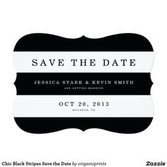 Chic Black Stripes Save the Date 5x7 Paper Invitation Card