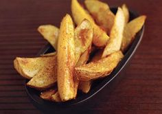 Get crispy fries without unhealthy oils and fat. Just use egg white with salt and pepper to brush on potatoes and bake
