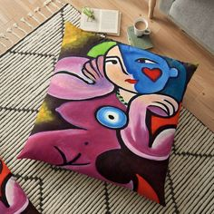 Large Cushion Covers, Picasso Style, Colourful Cushions, Cool Chairs, Cotton Pillow, Pillow Design, Floor Pillows, Pillow Covers, Flooring