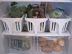 great for organization, but also a time saver. i could group all the elements for common multi-item meals and eliminate gathering armfuls of ingredients. sandwich fixins in one, salad makings in another, smoothine stuff in another....