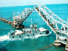 Bridge opens up to allow ferry movement - Pamban bridge: 10 awesome facts about India's first sea bridge | The Economic Times
