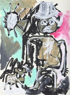 """This original work titled """"Man with Dog 001"""" is 30x42 cm in oil stick & acrylic on paper (90 gr.). It was made in June 2016 in Spain and is signed and dated on the back. It will ship carefully roll..."""
