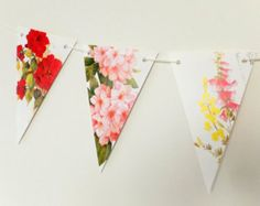 Mini bunting Small garland roses bunting by PeonyandThistle
