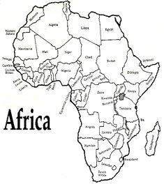 White outline printable Africa map with political labelling, borders, etc.