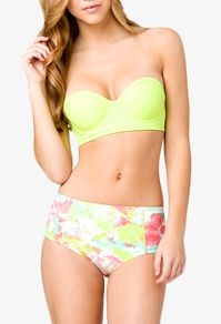 CHEAP swimsuits at forever21. love this under wire bandeau + semi-high waists