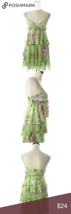"Wrapper Tiered Floral Mesh Dress Size Type: Juniors Size: M?   Measurements: Armpit to armpit is 14.5"" across when flat. Shoulder to hem is 34"".  Material: 100% Polyester.  Additional Information: Green and pink floral print mesh tiered dress.  Condition: New with tag.  wd1272 wrapper Dresses Midi"