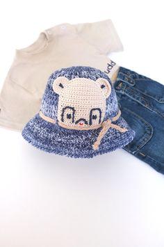 Baby Toddler Boy Summer Hat Crochet Denim Sun Hat by milazshop