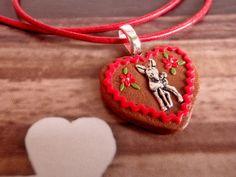 Little Deer Gingerbread Lebkuchen Heart Cookie Pendant by MiniTakeouts