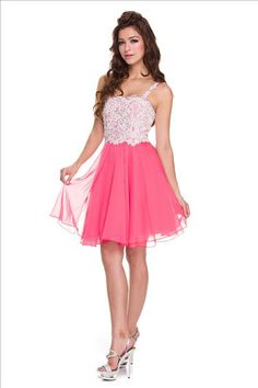 Short Lace Homecoming Dress in Watermelon