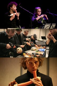 A group of artists shows how to do musical instruments from vegetables and fruits