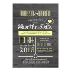 Country Western Wood grain Wedding Save the Date Card