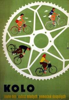 Original vintage cycling poster: Kolo - wanted by children, Joy for the young, helper for the adults. Art by Dvorak