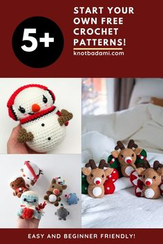 Create your own free handmade diy crochet projects this year! Get started with these free crochet patterns for christmas dolls and amigurumi with these beginner friendly amigurumi patterns. Create your own stuffed animals for the holidays. Perfect holiday crafts and holiday crochet for kids. Cute and kawaii, this basic and beginner friendly DIY project is perfect for any crocheter. This stuffed animal amigurumi is perfect for holiday home decor. Stuffed animal plushie that can be made… Crochet Animal Amigurumi, Amigurumi Patterns, Crochet Animals, Crochet Dolls, Crochet Hats, Learn To Crochet, Crochet For Kids, Free Crochet, Christmas Crochet Patterns