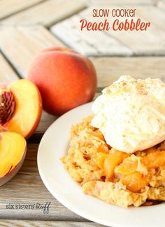 This delicious Slow Cooker Peach Cobbler only takes 4 hours to cook and will last you through the weekend. Isn\'t that just peachy?! #NationalPeachCobblerDay #CrockPot