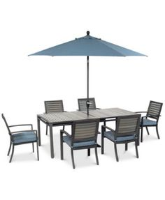 """Harlough Outdoor Aluminum 7-Pc. Dining Set (84"""" x 42"""" Dining Table and 6 Dining Chairs)"""