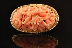 CHINESE GREAT DETAIL CARVED HIGH RELIEF PINK CORAL ORCHID 14K GOLD PIN BROOCH