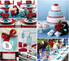 wedding blue and red