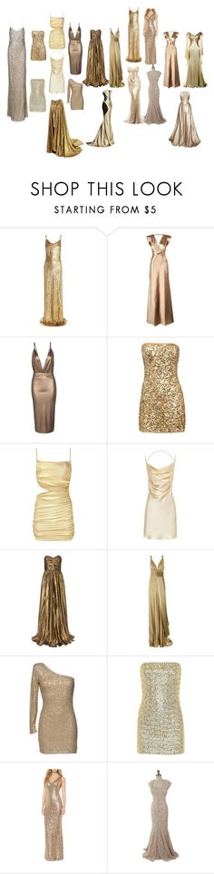 """""""Gold Dresses"""" by gone-girl ❤ liked on Polyvore featuring Michael Kors, Reiss, Boohoo, Arden B., Missoni, Yves Saint Laurent, Dina bar-el, AX Paris, Alice + Olivia and Ralph Lauren"""