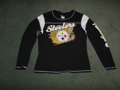 Women's Black & Yellow PITTSBURGH STEELERS NFL Thermal Logo Shirt, Size L, GUC! #REEBOKWOMENSNFLTEAMAPPAREL #PittsburghSteelers