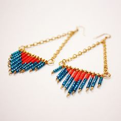Sofia Earrings: Coral + Turquoise  By Firecracker Designs