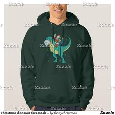 christmas dinosaur face mask santa hoodie Christmas Unicorn, Christmas Humor, Christmas Dinosaur, Funny Xmas Gifts, Hooded Sweatshirts, Hoodies, Christmas Card Holders, Ugly Christmas Sweater, Tshirt Colors