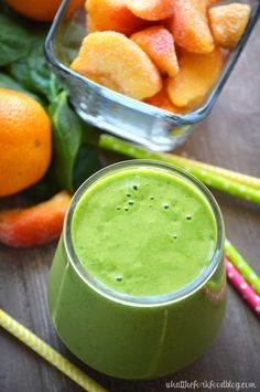 Peach Green Smoothie from What The Fork Food Blog. These green smoothies are healthy, dairy-free, gluten-free and absolutely delicious!