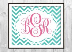 Chevron Monogram Art Print  Pink & Turquoise  Girl's by BySamantha, $6.00