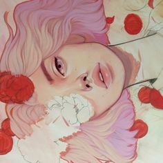 The girl laying in flowers, the amazing illustration of Kelsey Beckett. Art And Illustration, Illustrations, Kunst Inspo, Art Inspo, Kelsey Beckett, Pop Art, Amazing Art, Concept Art, Art Drawings