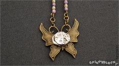 Steampunk Clockwork Butterfly Amulet  necklace by SpinnWeben