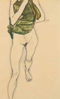 Egon SEgon  Schiele. 1890 - 1918. Striding torso in green blouse. 1913. Gouache, watercolour, crayon and pencil on paper. 48.2 by 31.7cm.