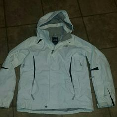 Womens sz med North Face Hyvent coat wht/blk/gry Womens size medium North Face Hyvent winter coat. Color is off-white with some black trim & gray North face logos. A few small scuff marks on front & elbows otherwise excellent pre-owned condition. The North Face Jackets & Coats