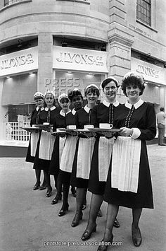 London Scenes - Lyons Corner House - 1981 Nippy waitresses of the new Lyons Corner House, rehearsing for the re-opening of an era when the old-style corner house restaurant opens in The Strand, London.