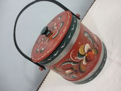 Firkin Bucket  Hand Painted Scandinavian by coleuscottage on Etsy
