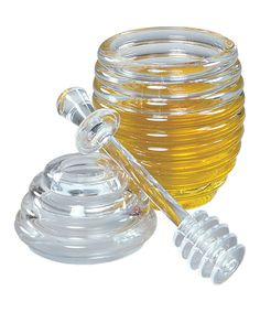 Ribbed Honey Container & Dipper