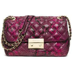MICHAEL MICHAEL KORS Sloan Large Quilted Snake-Embossed Leather... (508 CAD) ❤ liked on Polyvore featuring bags, handbags, shoulder bags, apparel & accessories, fucshia, quilted leather crossbody, leather crossbody purse, crossbody purse, leather crossbody handbags and crossbody shoulder bags